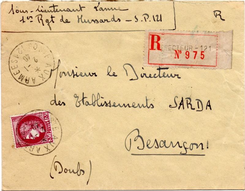 Tarif de la recommandation pendant la Deuxième Guerre mondiale 1940_r10