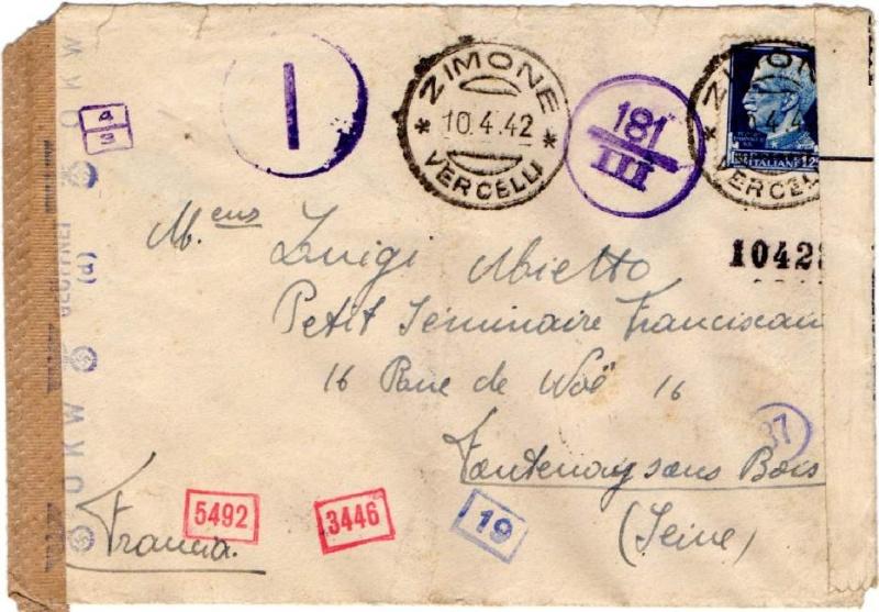 """Cachet """" P.S.S.D."""" sur lettre de Ljubljana ( Slovénie ) 1944. 1942_c10"""