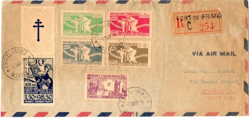 """Timbre """"Aide aux résistants"""" émission du CFLN 1943 1944_c10"""