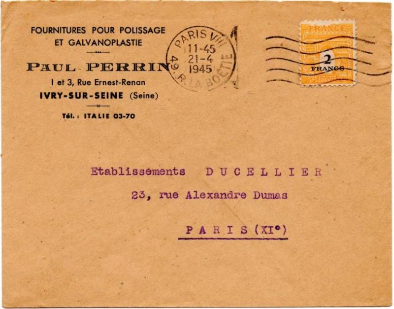 Tarif des lettres pendant la Deuxième Guerre mondiale 1945_a10