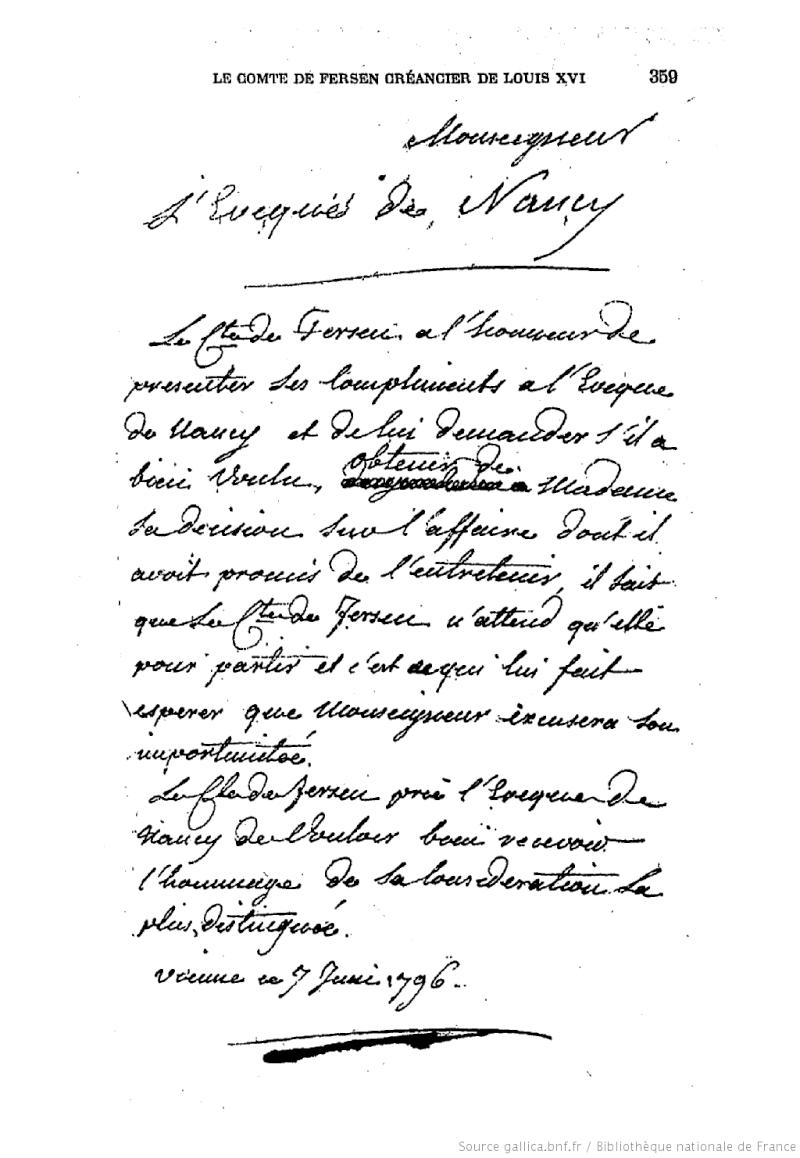 Lettres, mots, notes et extraits du journal d'Axel de Fersen F36110