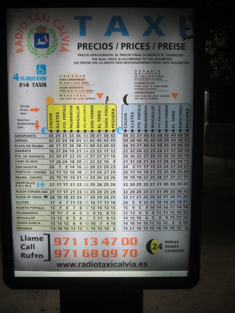 Taxi prices from the airport 2013 Img_1710