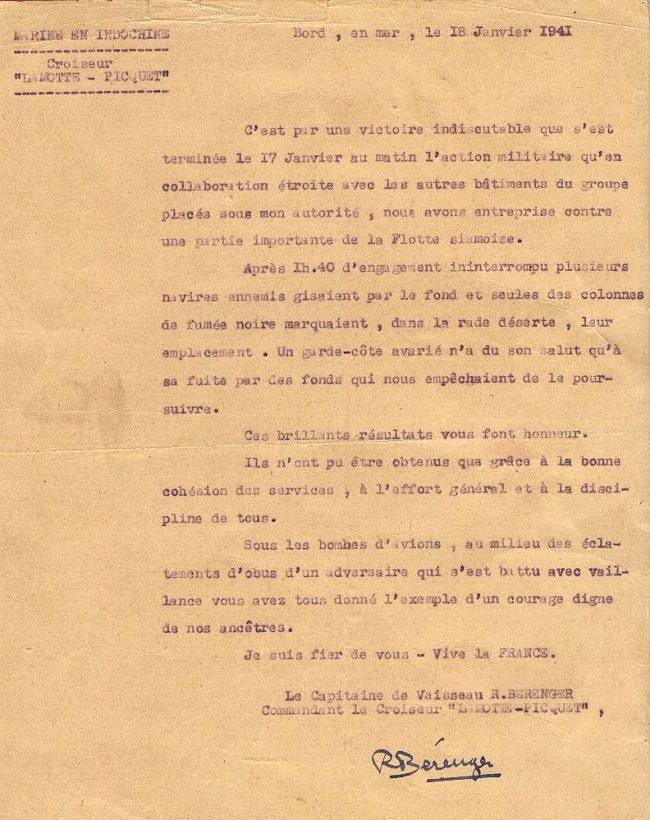17/18 JANVIER 1941 Koh-Chang; une victoire navale française  Lettre10