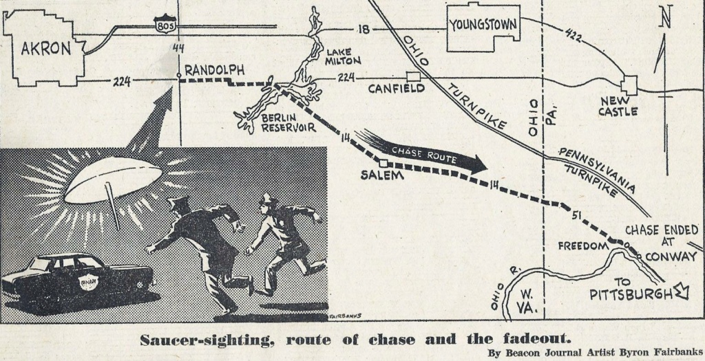 Portage County Ohio, Police UFO chase 1966 Saucer10