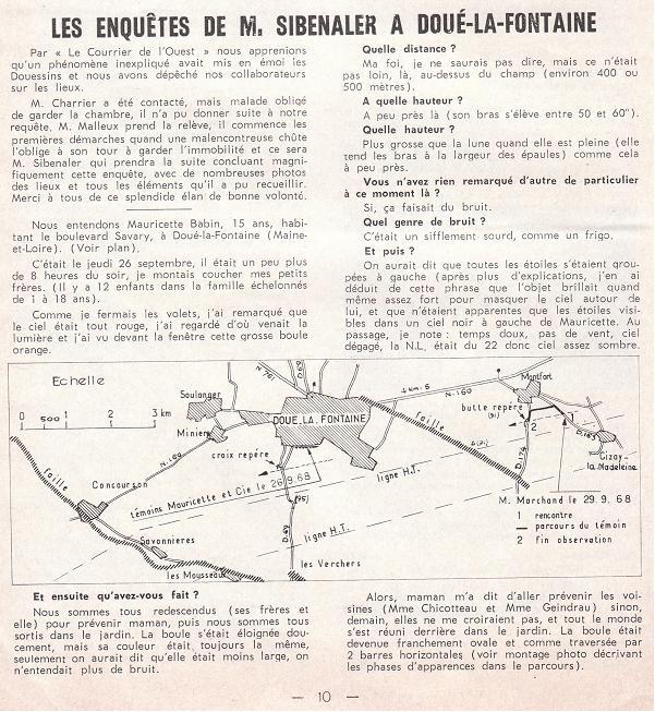 Douè-la-fontaine : Enquêtes de M.Sibenaler [1966] 1010