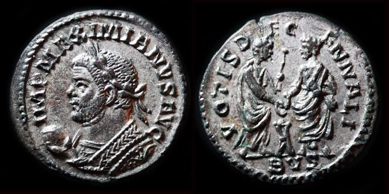 Aureliani de Lyon de Dioclétien et de ses corégents Denier10