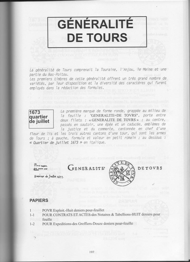 timbres fiscaux du XVII et XVIII eme siècle de la Généralité de Tours 00210