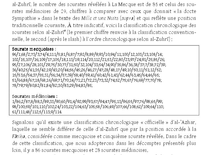 Curiosité mathématique dans l'ordre chronologique  du Coran . Chrono11