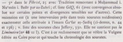 Curiosité mathématique dans l'ordre chronologique  du Coran . Note_c10