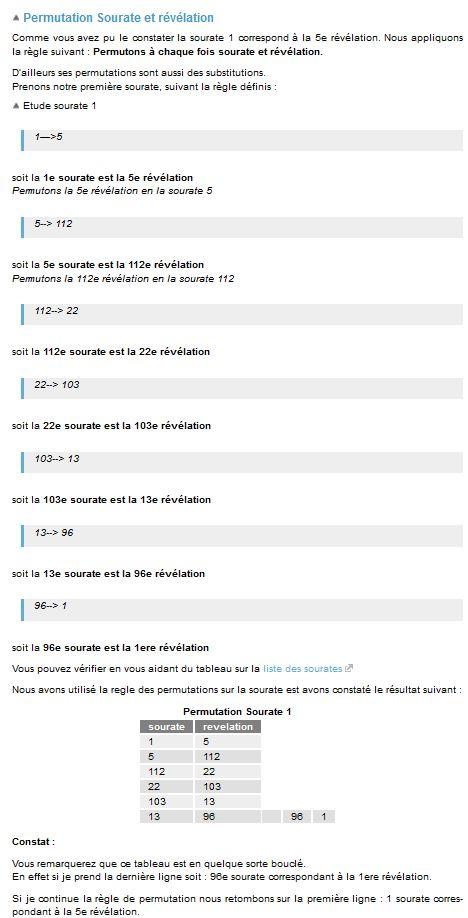 Curiosité mathématique dans l'ordre chronologique  du Coran . Permut10