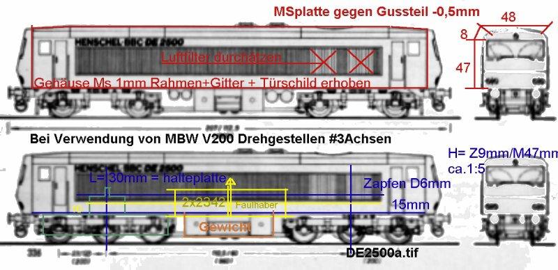 Das dritte Projekt 2014 - Die Henschel-BBC DE2500 Lok in 0 De250010