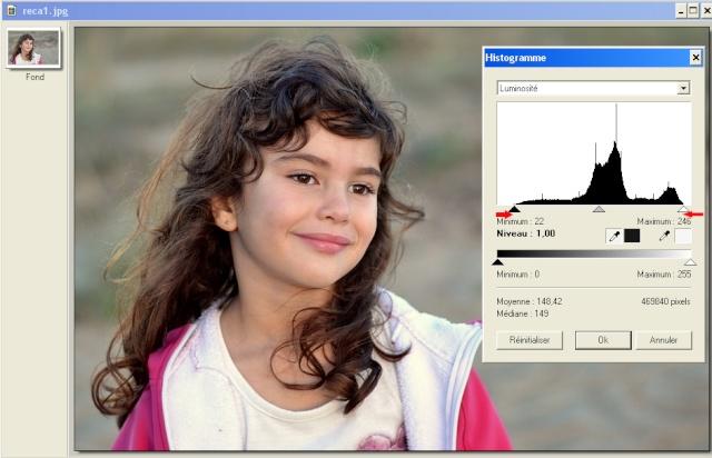 Recadrer et corriger une photo avec les plugins de Photofiltre. Histo10