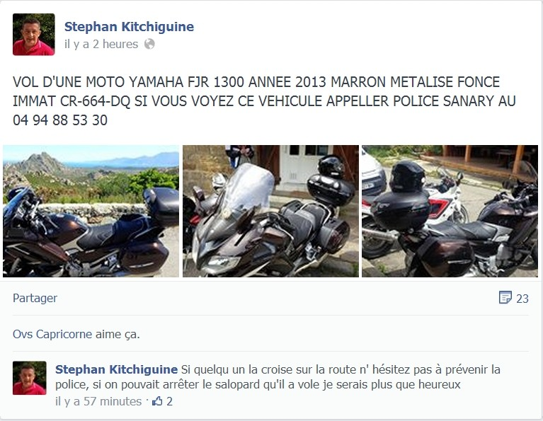 VOL d'un YAMAHA 1300 FJR marron Vol10