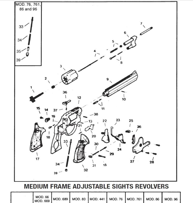 Démontage barillet TAURUS 669 Inox 4 pouces 357 Magnum 66910