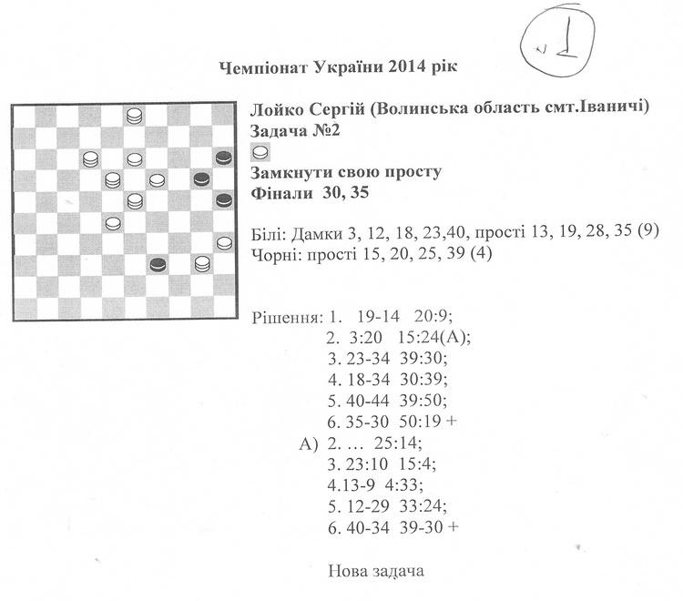 Чемпионат Украины по шашечной композиции-100, 2014г. 000410
