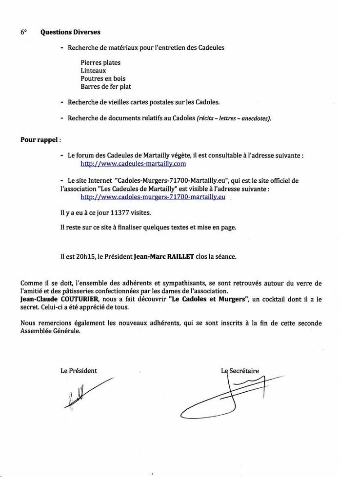 Compte rendu AG 2014 Les Cadeules de Martailly E10