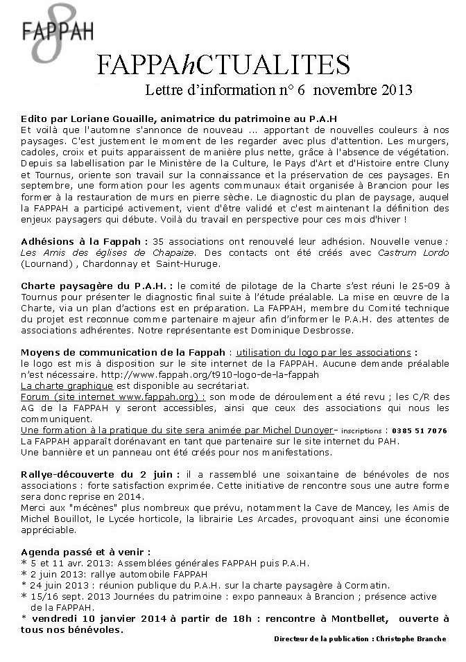 Lettre d'information n°6 novembre 2013 Fappah10