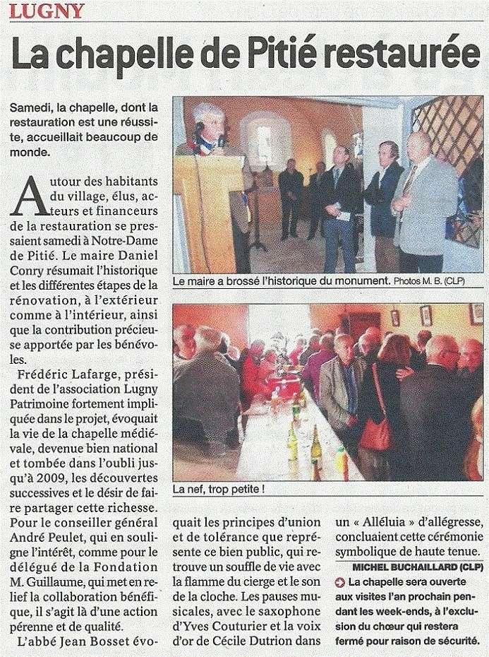 """La chapelle de Fissy inaugurée samedi 5 octobre"" article jsl Lugny_12"