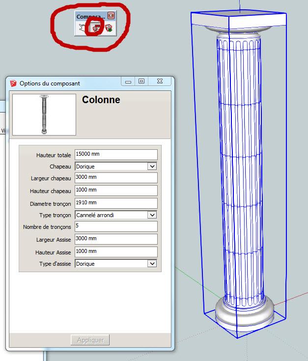 Composant dynamique : colonne a cannelures 27-01-10