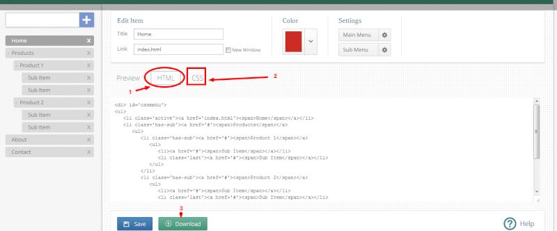 Generatore menu CSS online - CSS Menu Maker 2nhhsi10