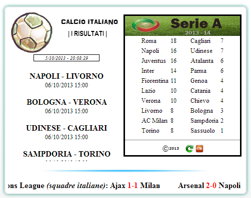 Codice HTML per le classifiche di calcio - Widget 2vv2cq10
