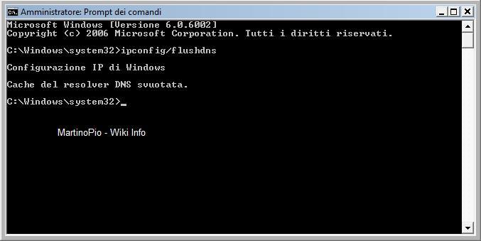 Come pulire/eliminare i cache del DNS Ipconf10