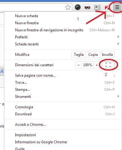 Come mettere in fullscreen una pagina web con Google Chrome Menusc10