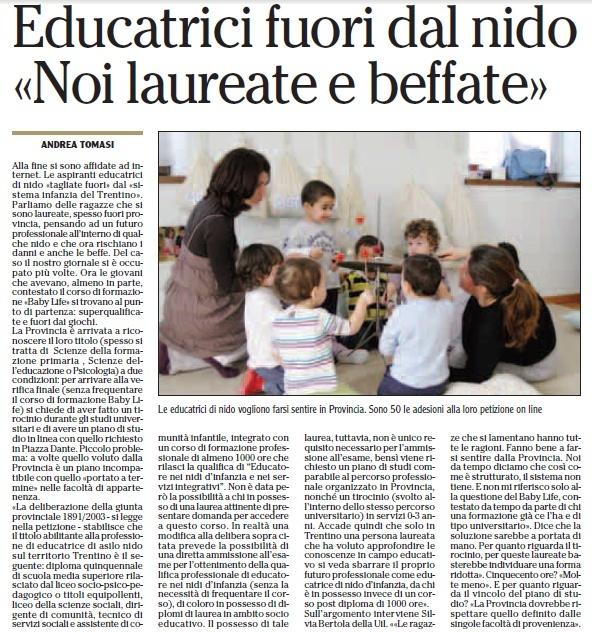 """ARTICOLO SUL BABY LIFE SU """"L'ADIGE"""" DEL 09/03/2014  Cattur10"""