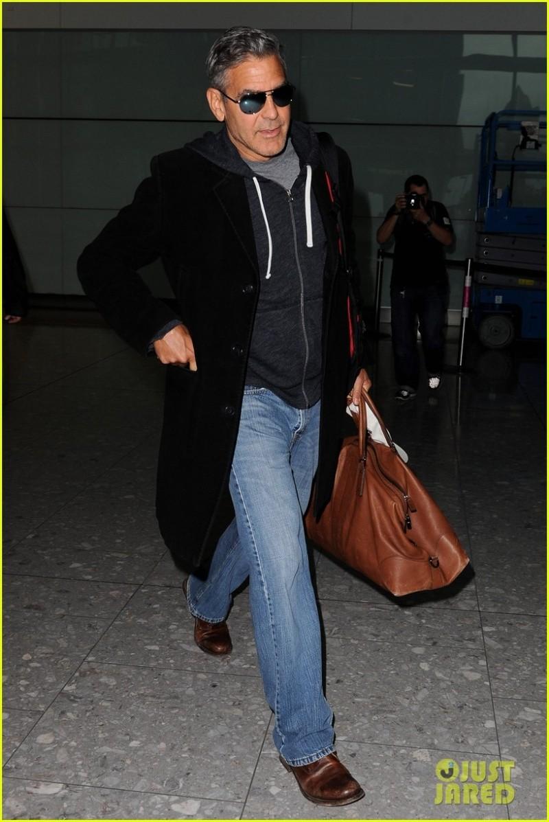 Just Jared has George Clooney landing in London  George10