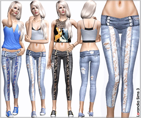 Ripped Lace Skinny Jeans By Lore Lorand10