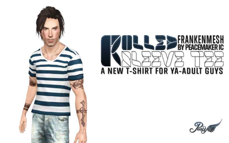 Rolled Sleeve Tee - New top for the guys by Simsational Designs Pc-rol11