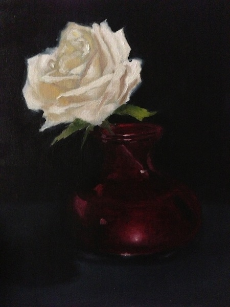 Painting #75: A white rose in a vase White_10