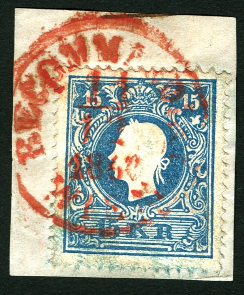 Die Freimarkenausgabe 1858 Type I und II 15_kr_10