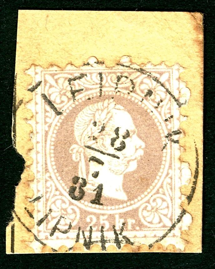 Freimarken-Ausgabe 1867 : Kopfbildnis Kaiser Franz Joseph I - Seite 4 25_kr_10