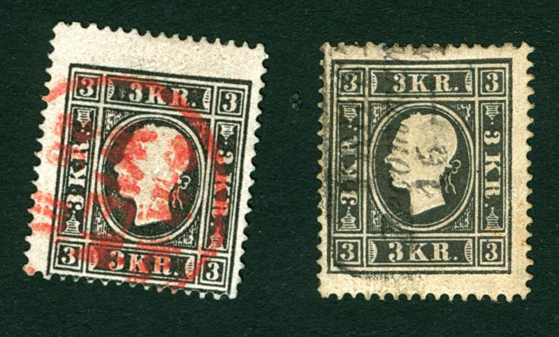 Die Freimarkenausgabe 1858 Type I und II 3_kr_111
