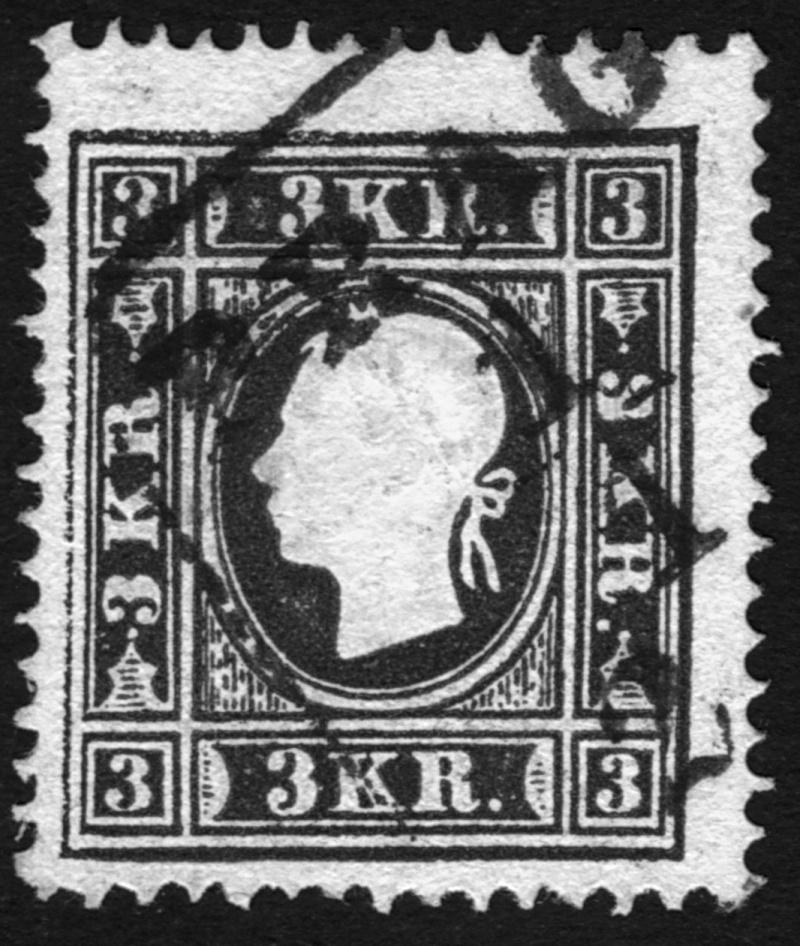 Die Freimarkenausgabe 1858 Type I und II 3_kr_112