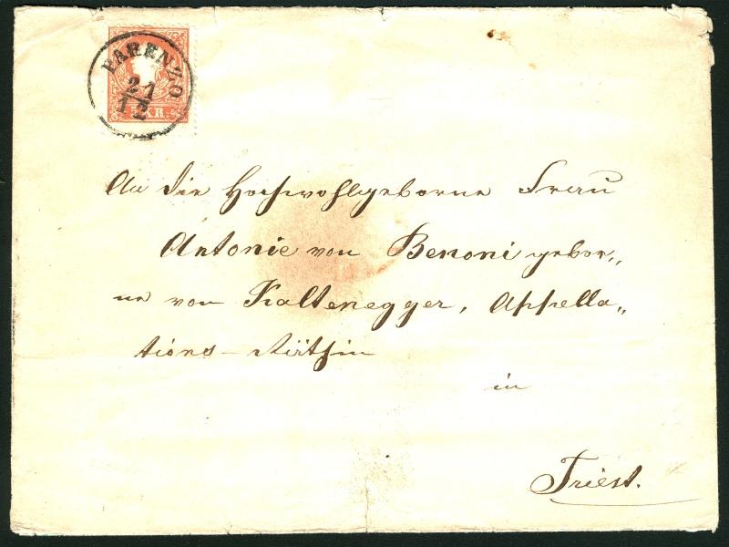 Die Freimarkenausgabe 1858 Type I und II 5_kr_110