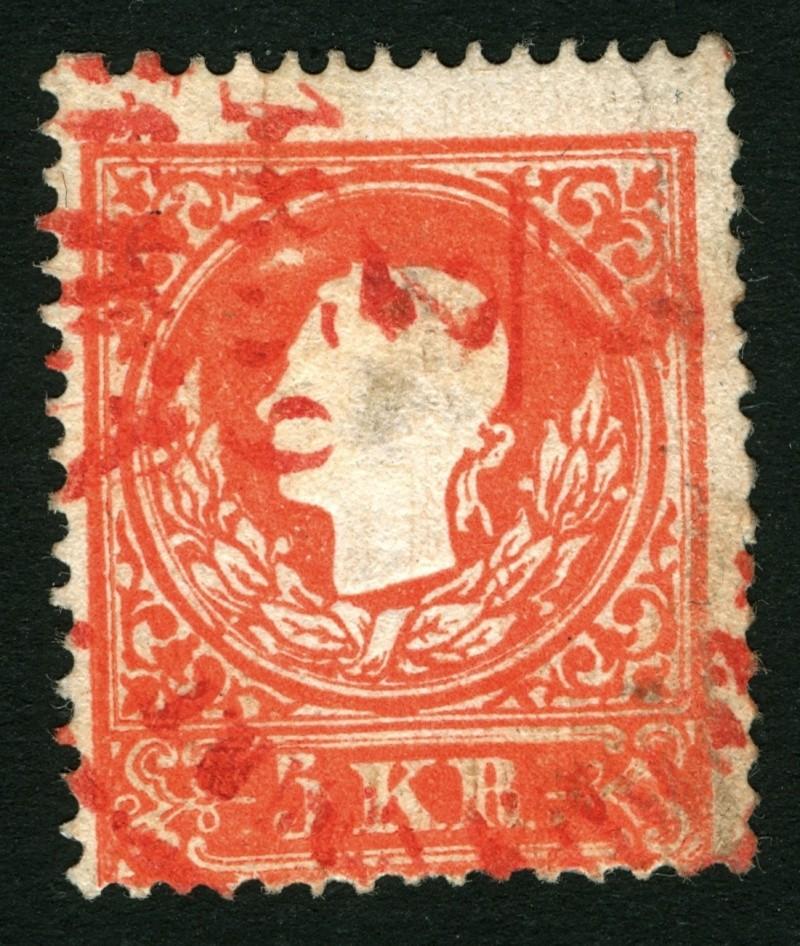 Die Freimarkenausgabe 1858 Type I und II 5_kr_r10
