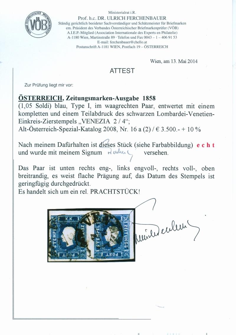 DIE ZEITUNGSMARKEN AUSGABE 1858 Attest10
