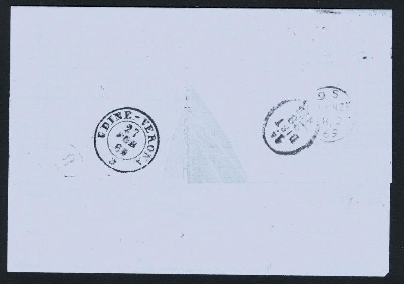 Stempel Udine-Verona Italien 1869? Triest15
