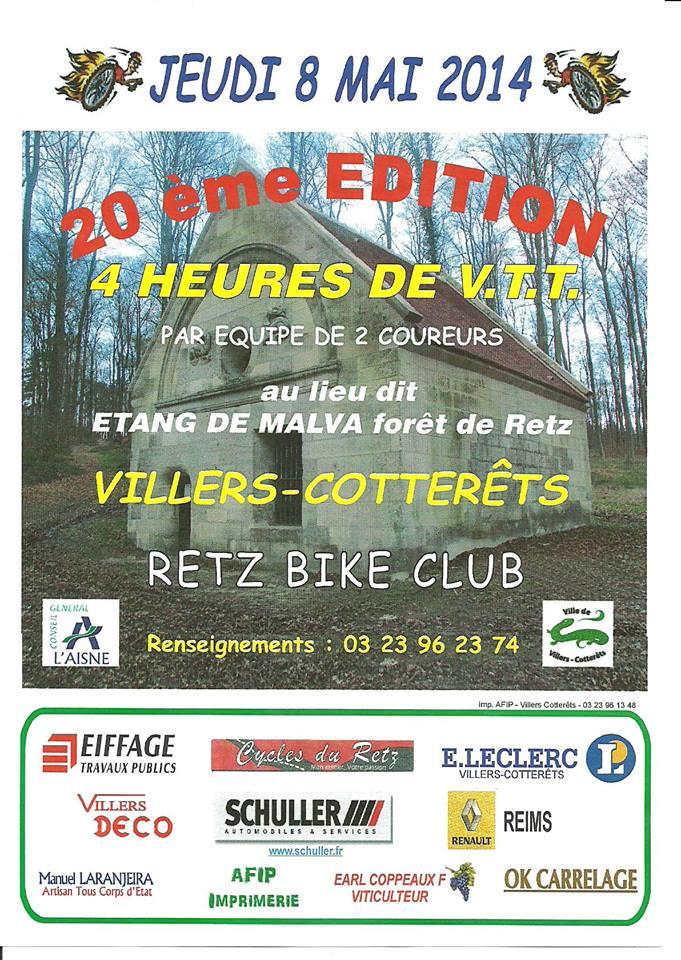 20 éme édition 4 h de VTT le 8 Mai à Villers cotterets 4h10