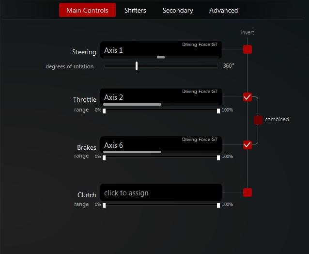 Force Feedback settings 110