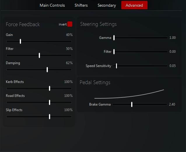 Force Feedback settings 210