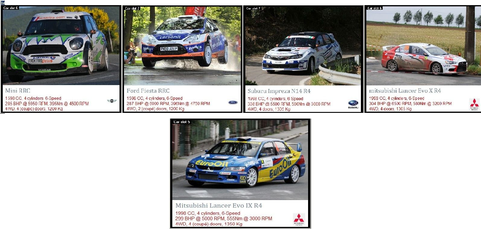 Formación de Equipos y elección de coches  Coches18