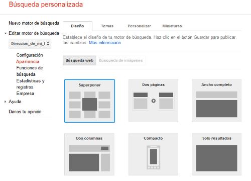 Motor de búsqueda de Google personalizado. Apertura de página sugerida en la misma pestaña D110