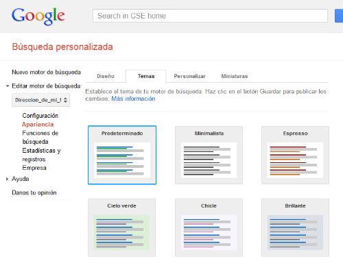 Motor de búsqueda de Google personalizado. Apertura de página sugerida en la misma pestaña D210