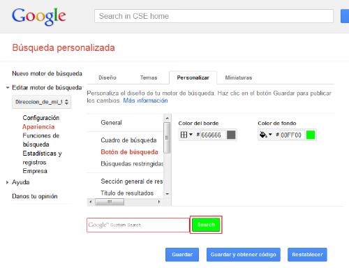 Motor de búsqueda de Google personalizado. Apertura de página sugerida en la misma pestaña D310
