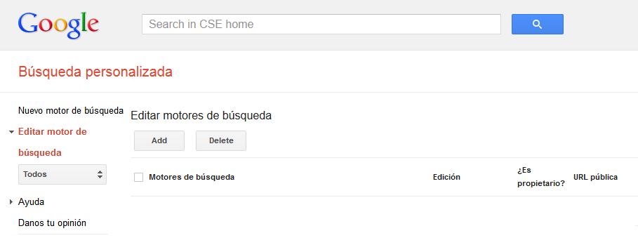 Motor de búsqueda de Google personalizado. Apertura de página sugerida en la misma pestaña M110