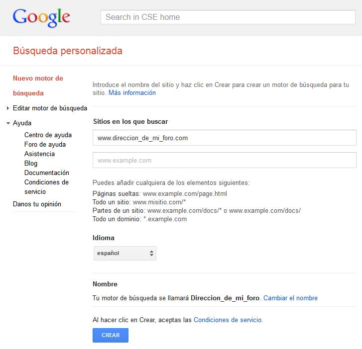 Motor de búsqueda de Google personalizado. Apertura de página sugerida en la misma pestaña M210