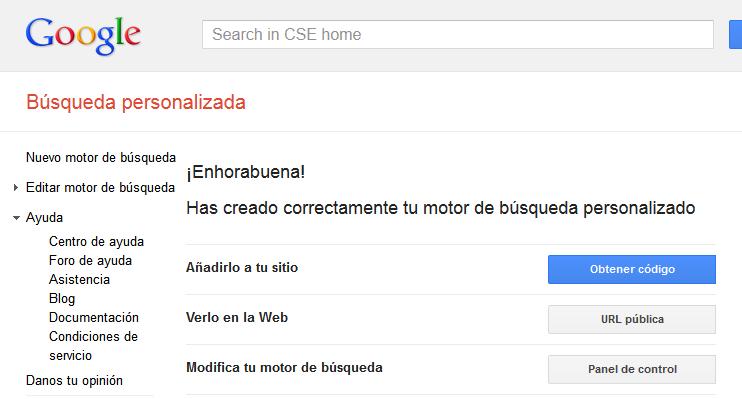 Motor de búsqueda de Google personalizado. Apertura de página sugerida en la misma pestaña M310